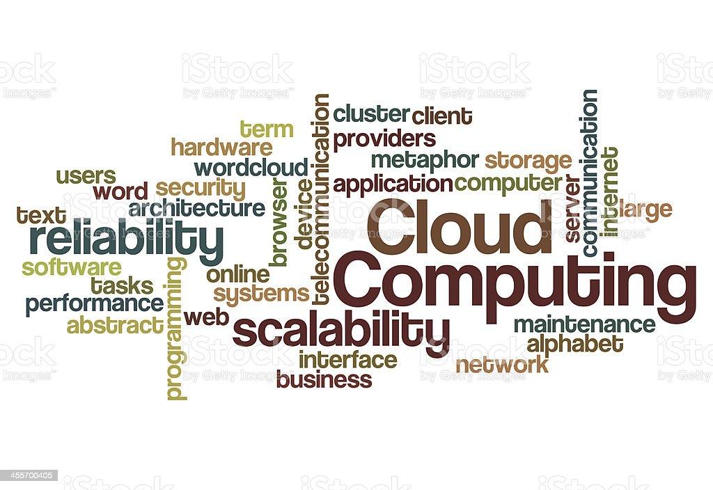 cloud computing scalability reliability background stock photo