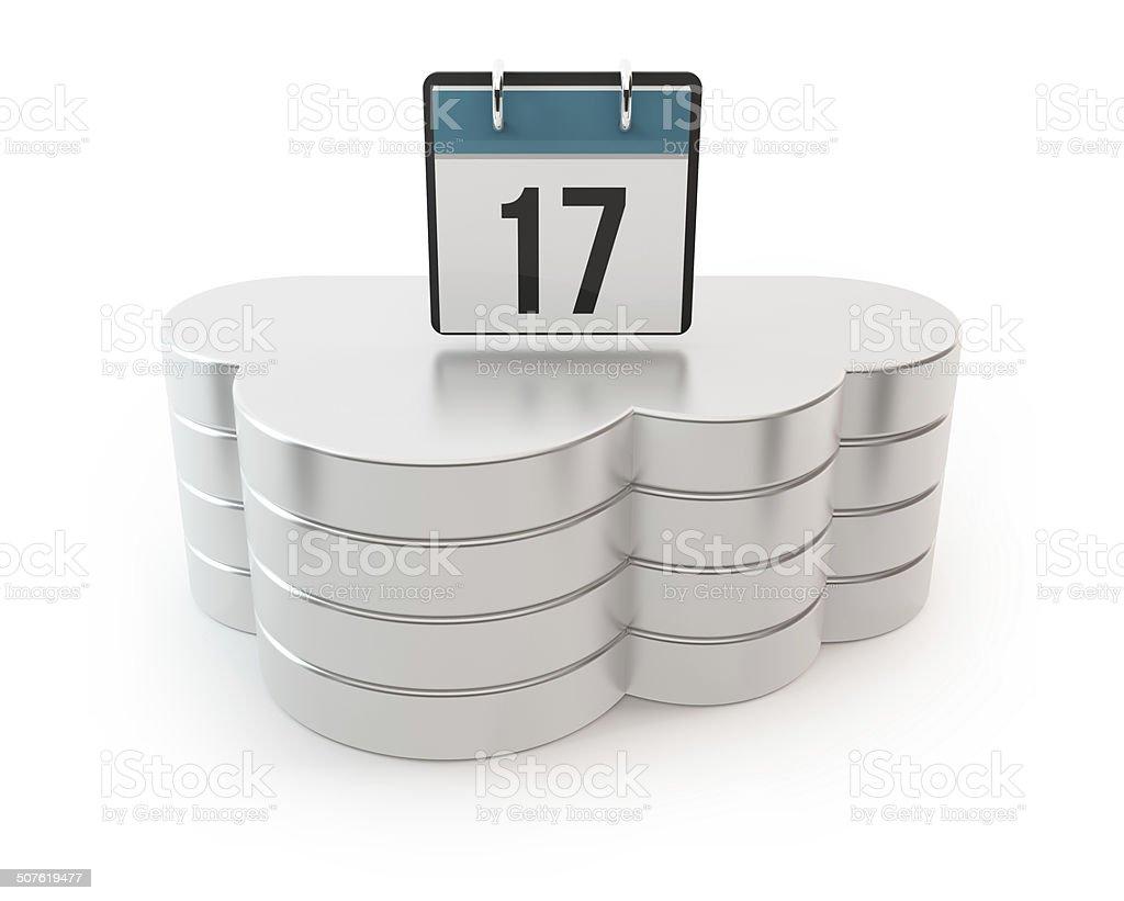 3D cloud computing server with calendar stock photo