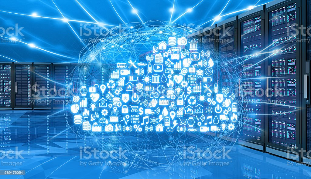 Cloud computing services connected to network computer servers stock photo