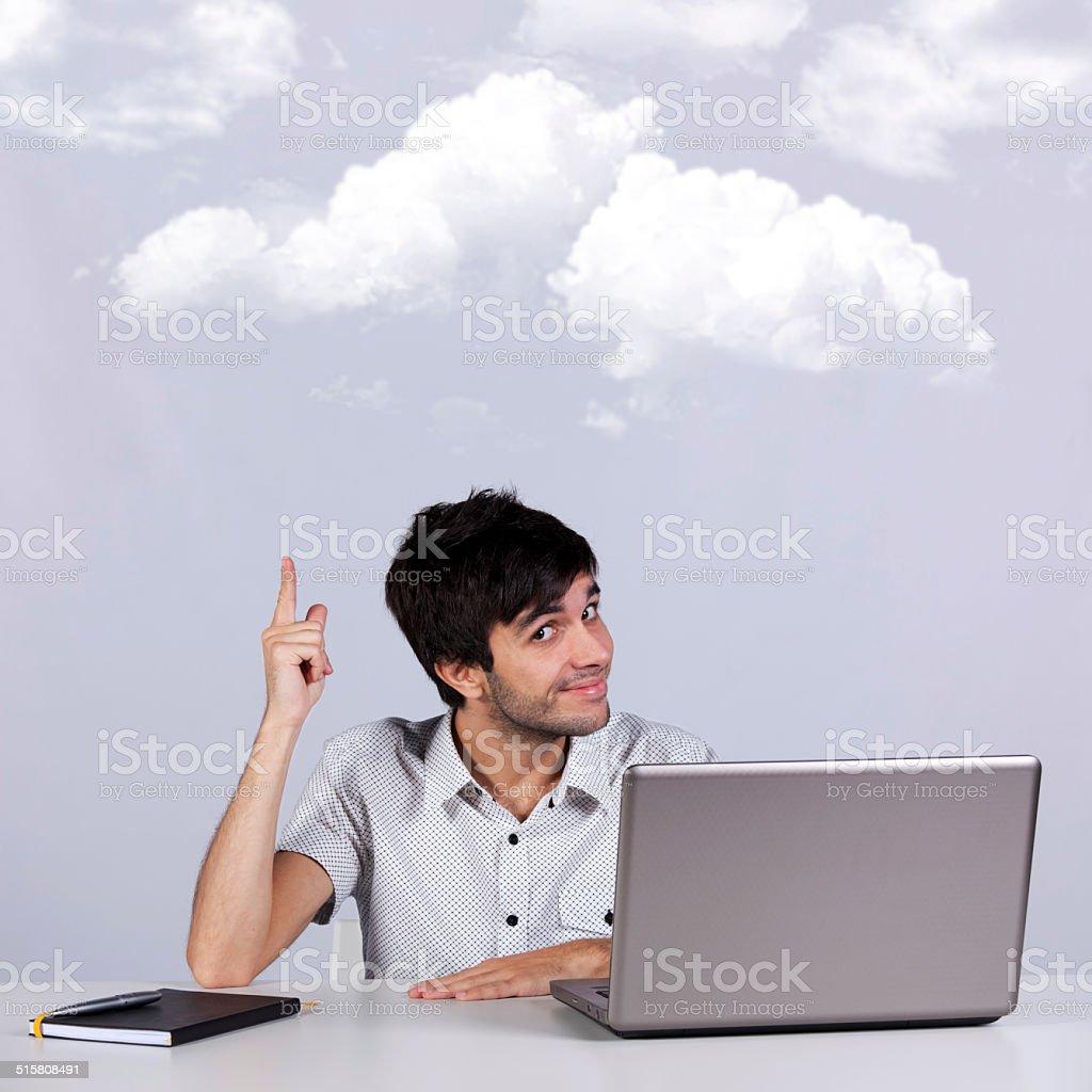 Cloud computing solution stock photo