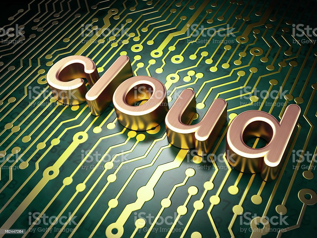 Cloud computing technology, networking concept: circuit board wi royalty-free stock photo