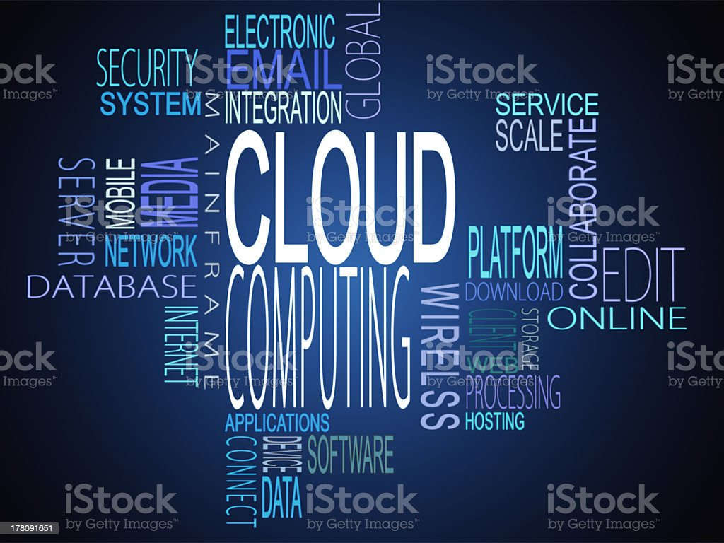 Cloud computing terms together stock photo