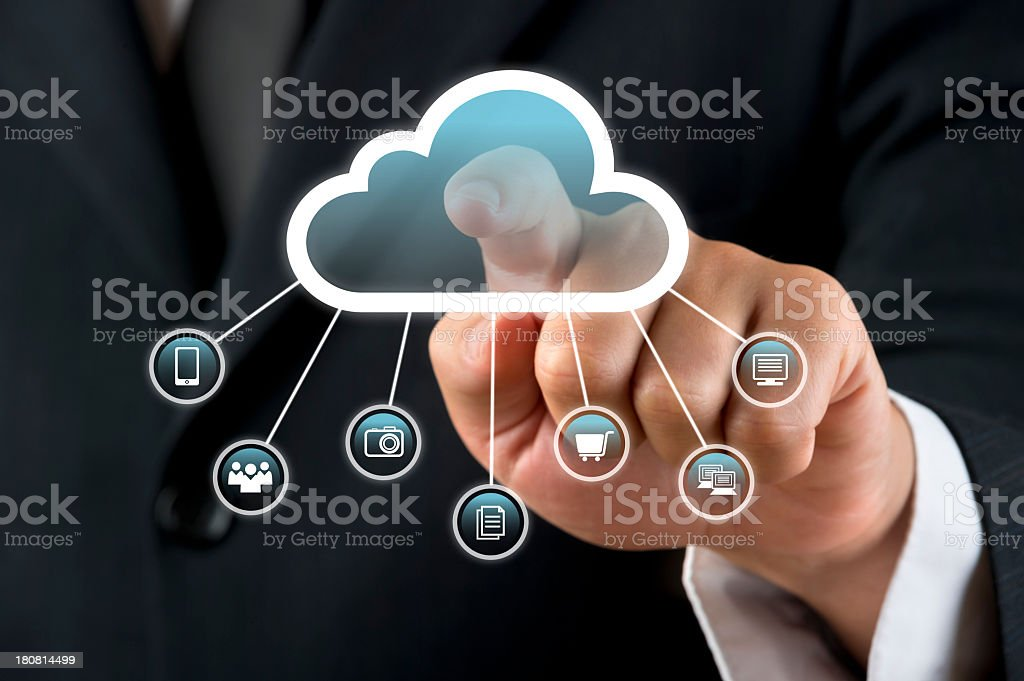 Cloud computing touch screen royalty-free stock photo