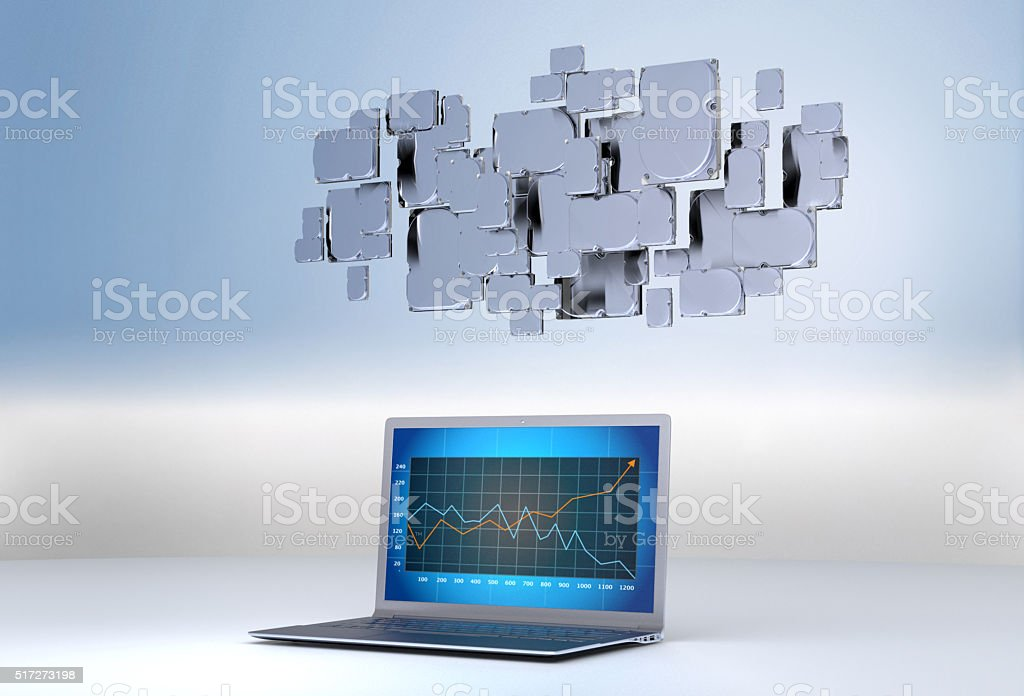 Cloud Computing with a notebook Hard disc stock photo
