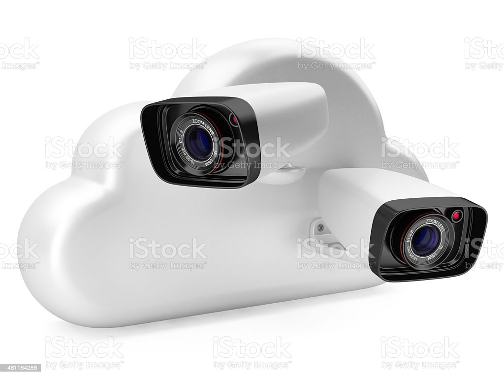 Cloud computing with a security camera. stock photo
