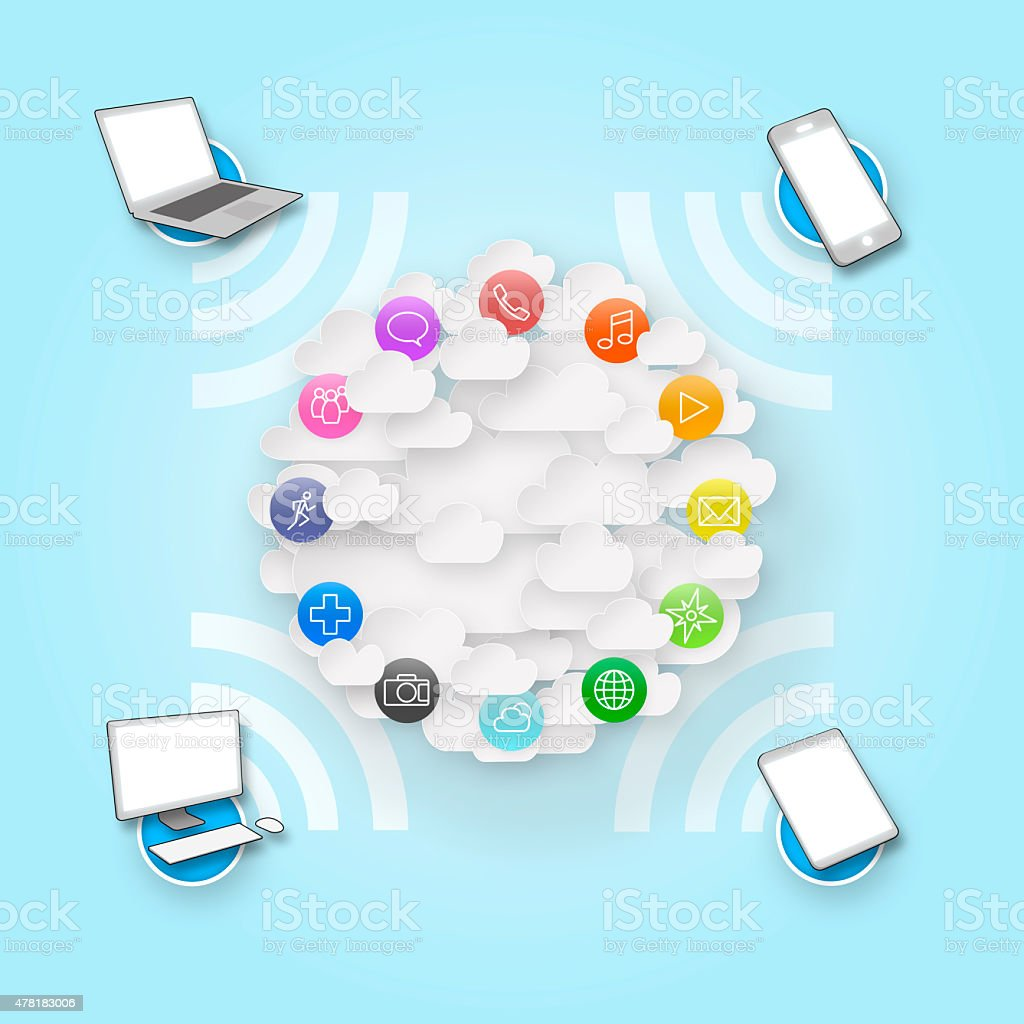 Cloud Computing with Applications and Connected Devices stock photo