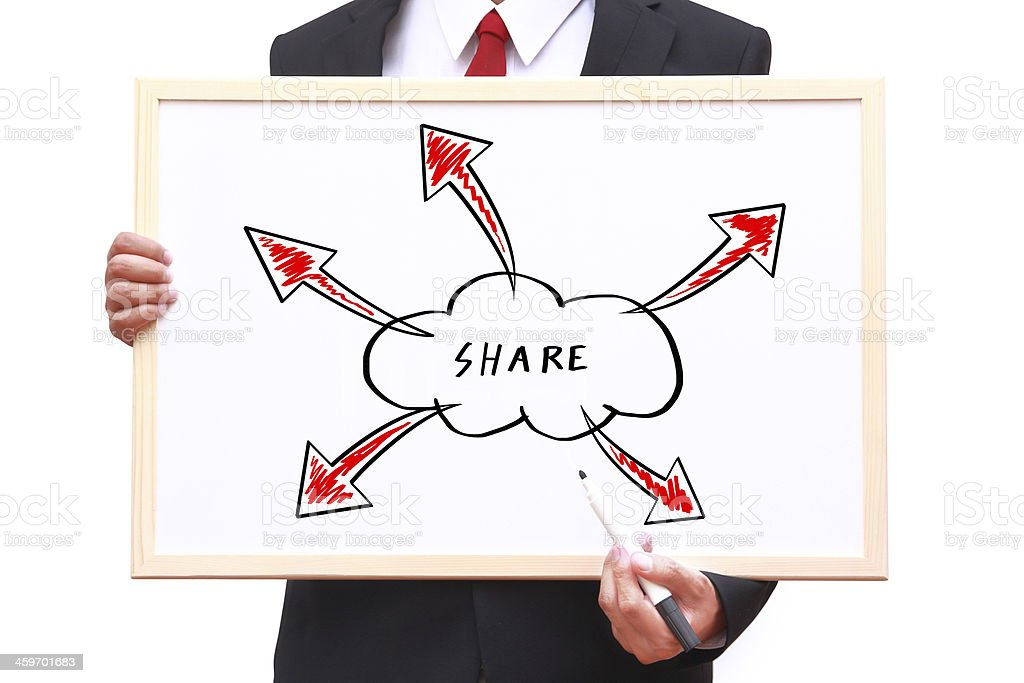 Cloud concept on whiteboard royalty-free stock photo