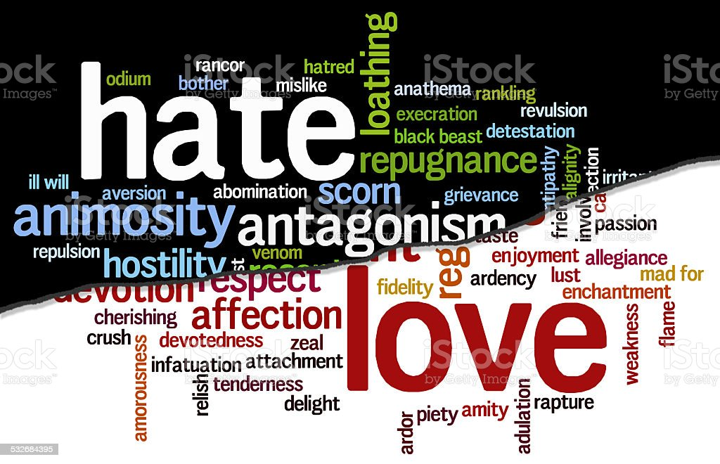 Cloud containing words related to hate and love stock photo