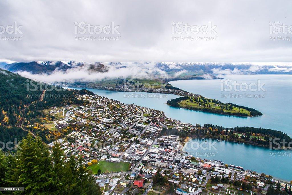 Cloud Covered Lake stock photo
