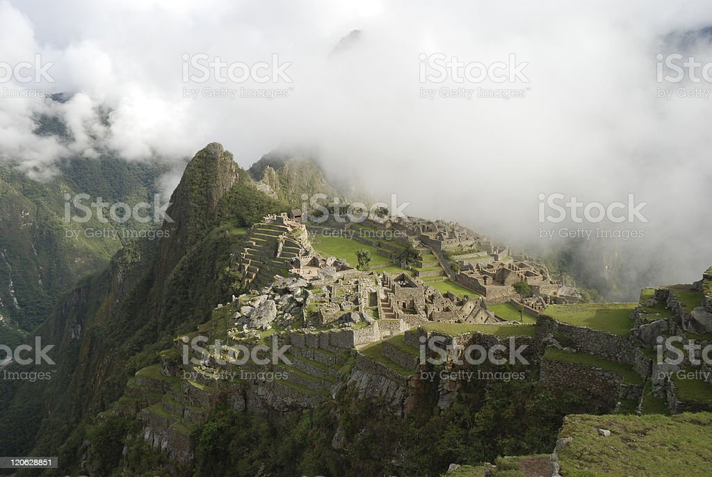 Cloud Covered Machu Picchu royalty-free stock photo