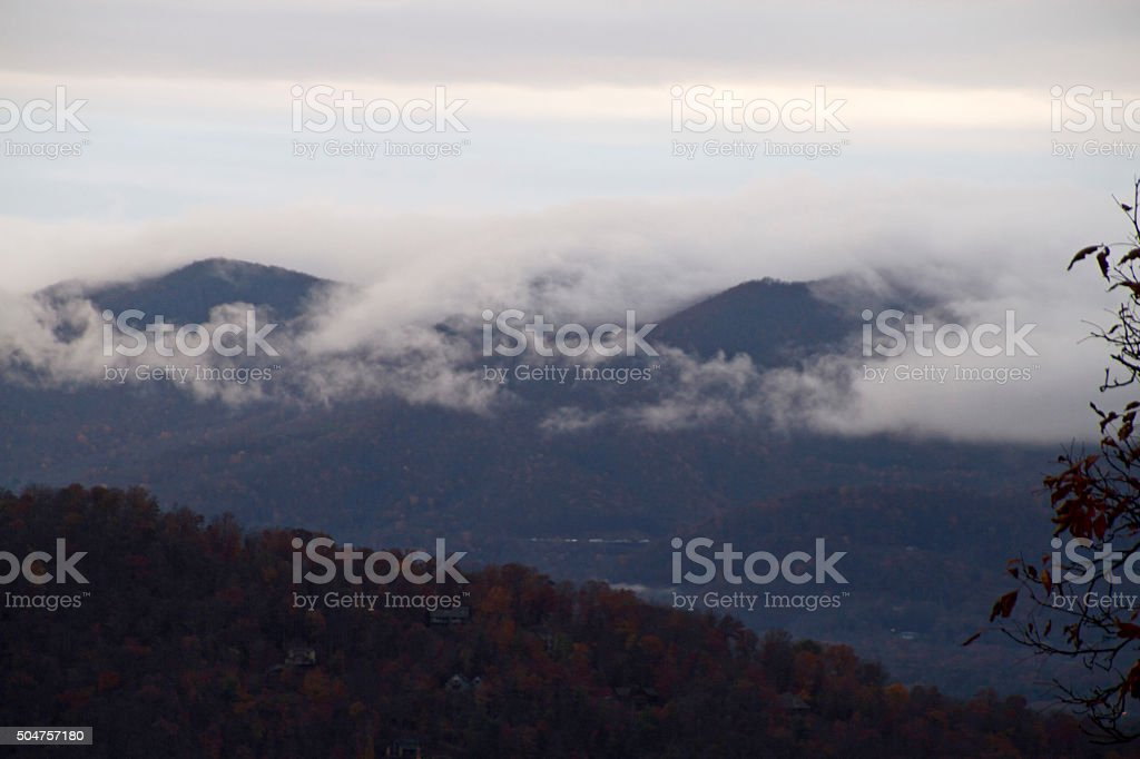 Cloud Covered Smoky Mountains stock photo