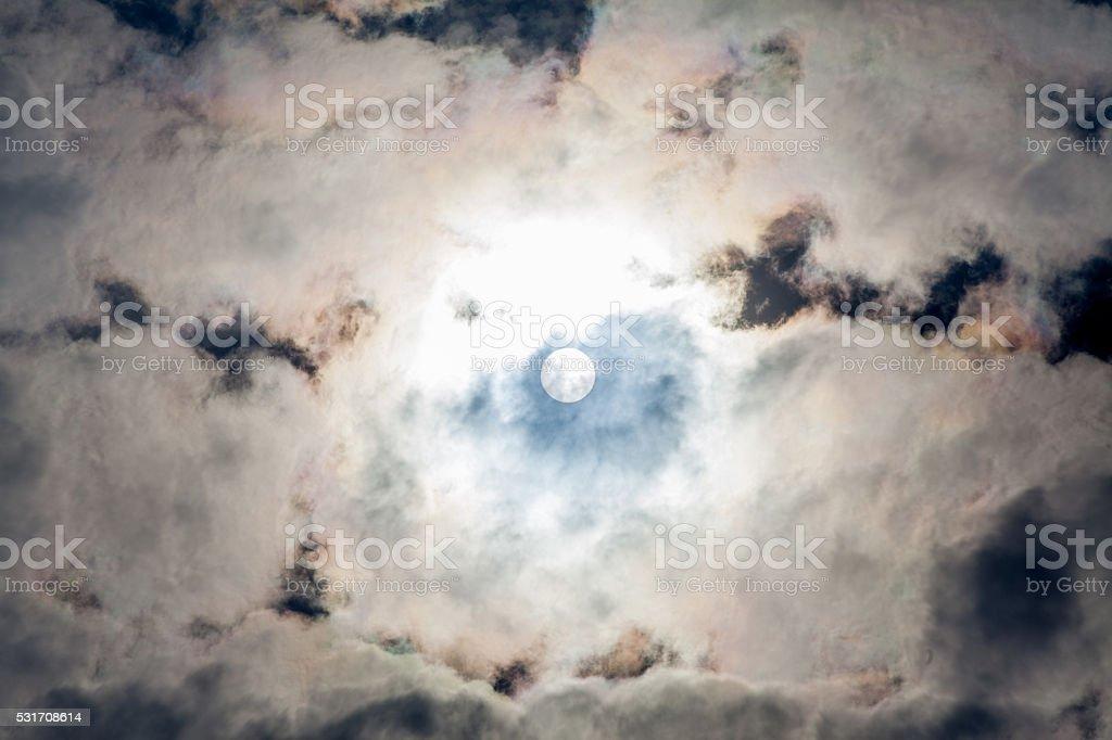 Cloud covered sun over Virginia Beach stock photo