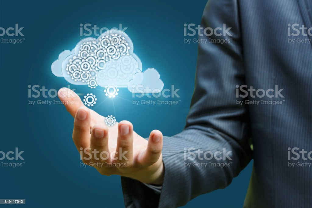 Cloud data in hand . stock photo