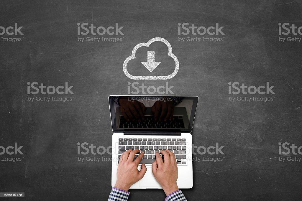Cloud download stock photo