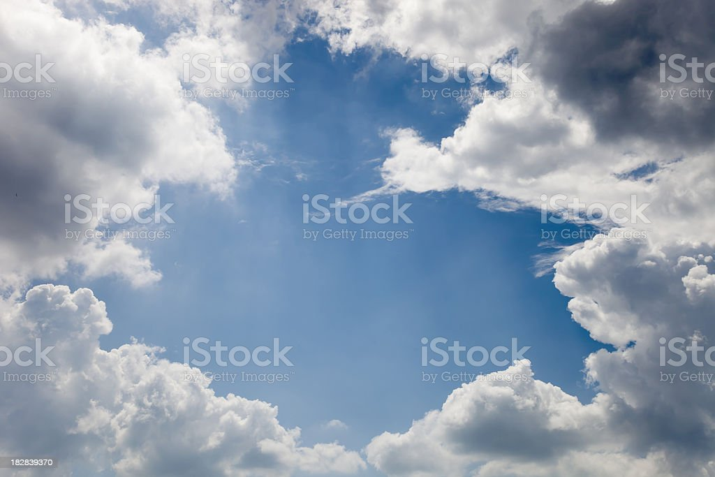 cloud frame - blue sky covered with clouds stock photo