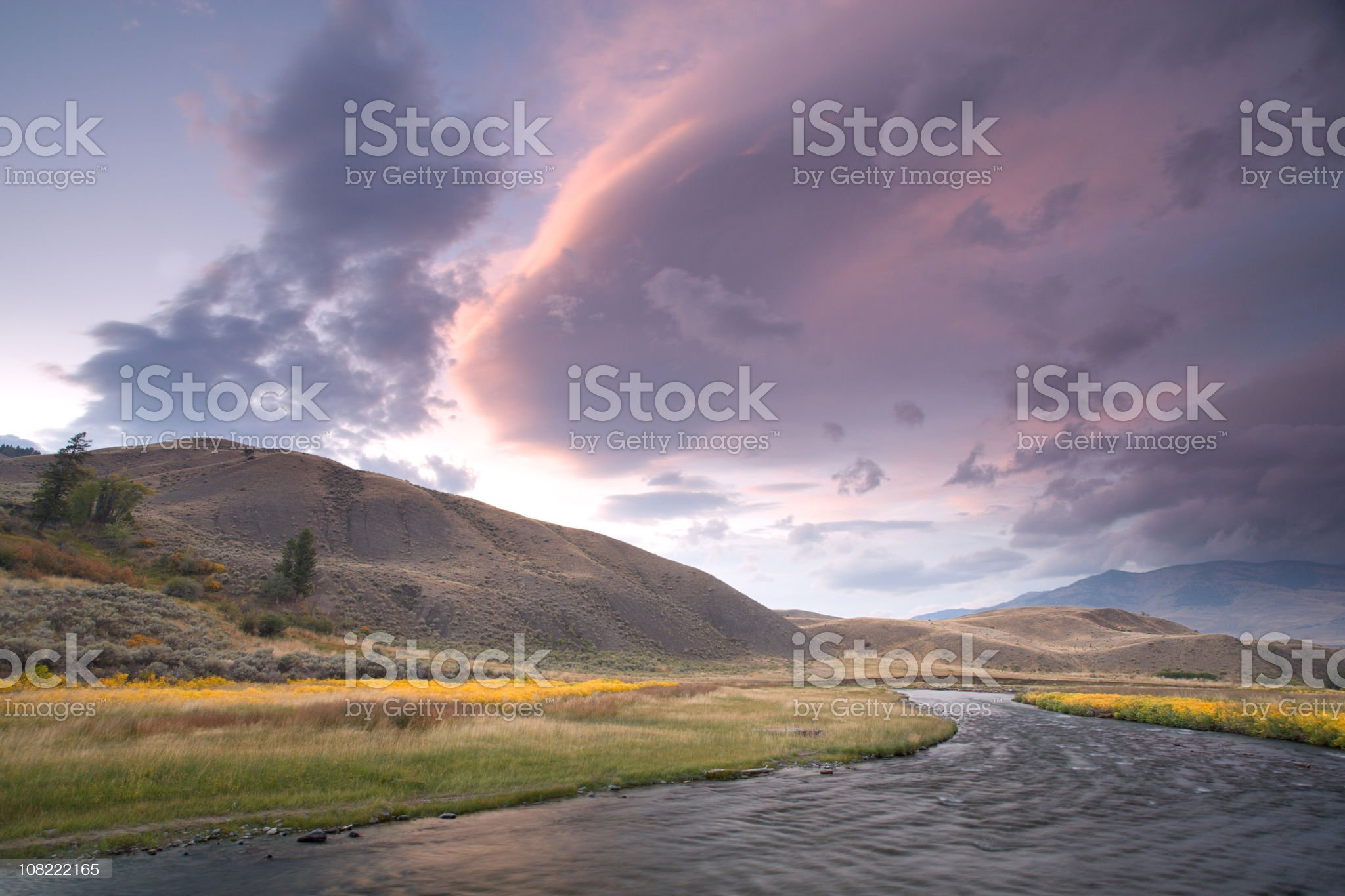 Cloud Front over the Yellowstone River at Sunset royalty-free stock photo
