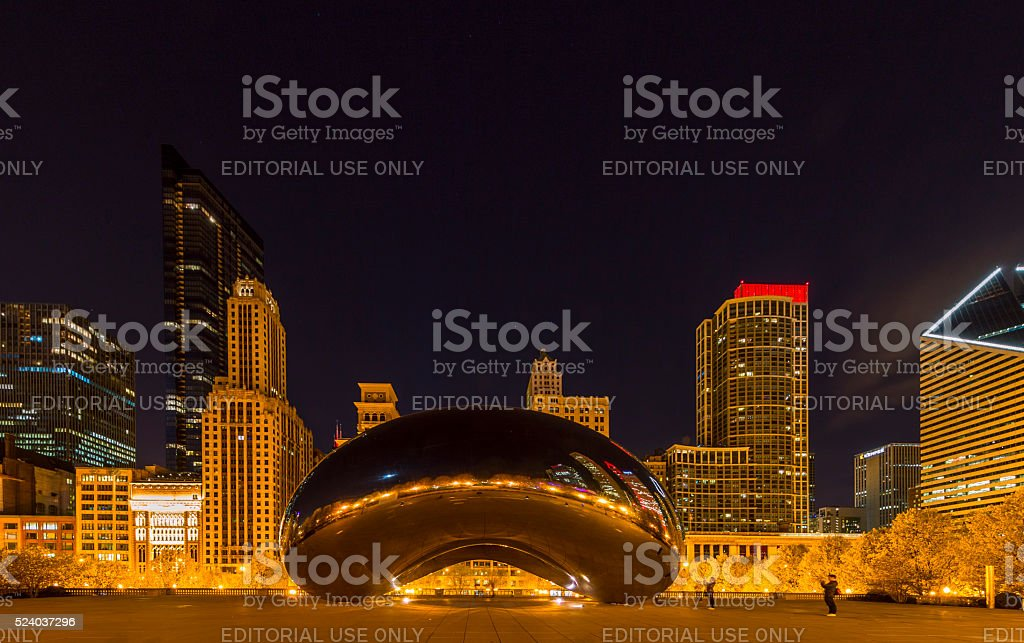 Cloud Gate at Night stock photo