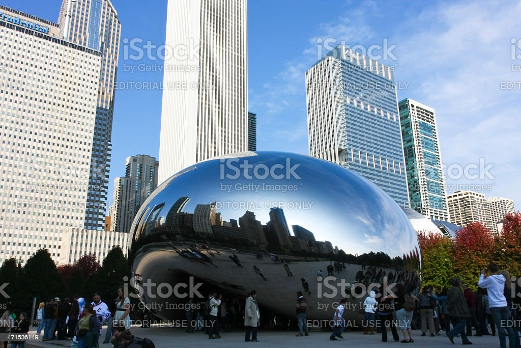 Cloud Gate Bean and Chicago Skyline stock photo