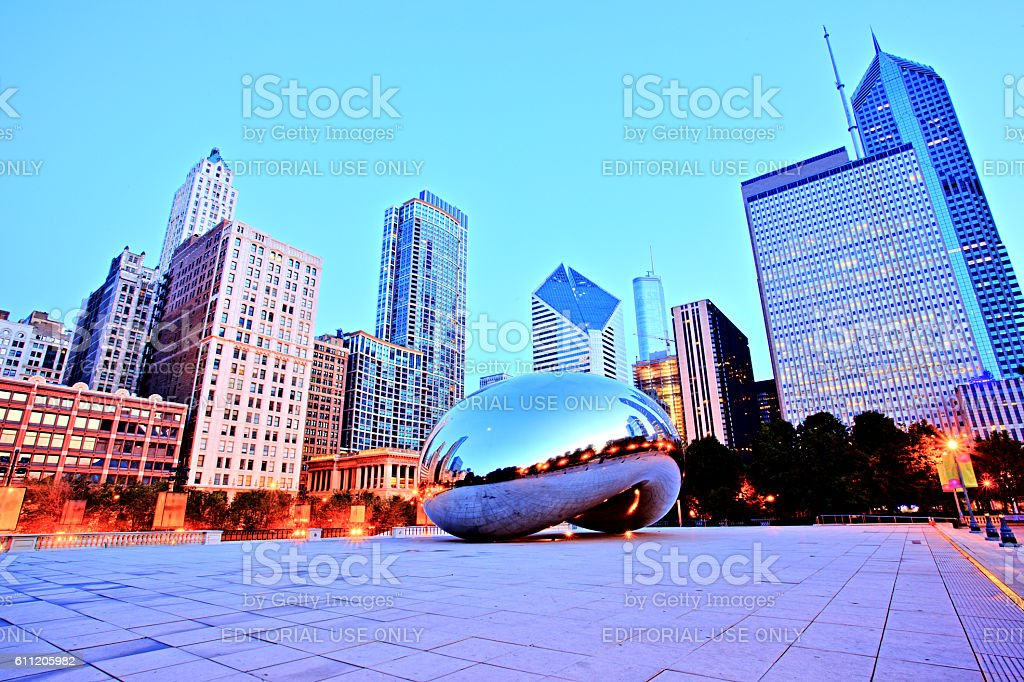 Cloud Gate in Millennium Park at Sunrise, Chicago stock photo