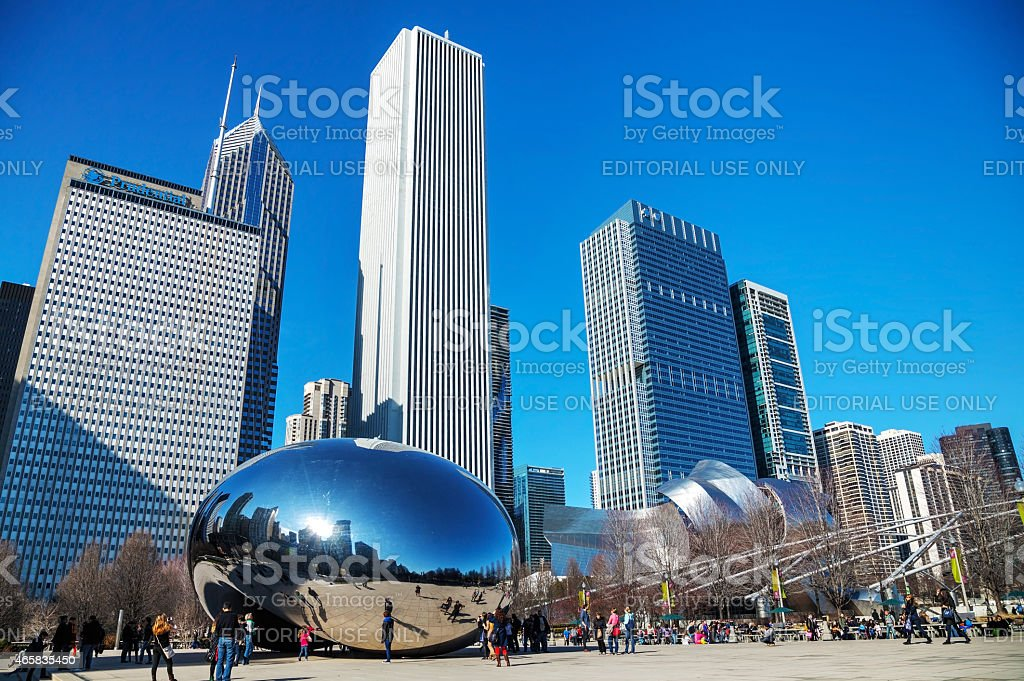 Cloud Gate sculpture in Millenium Park stock photo