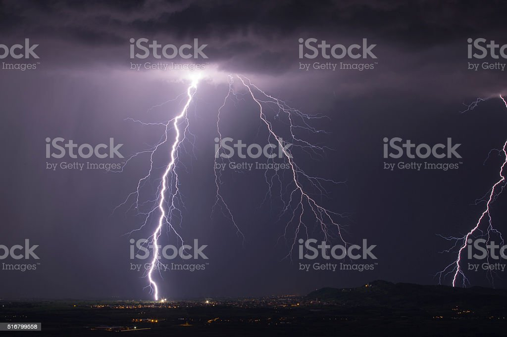 Cloud ground lightning stock photo