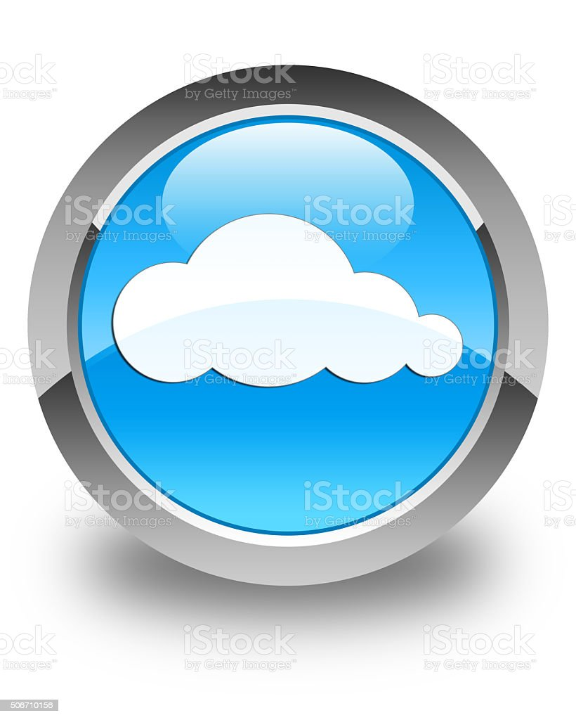 Cloud icon glossy cyan blue round button stock photo