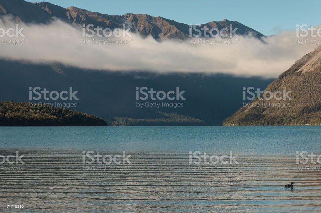 cloud inversion above lake Rotoiti stock photo