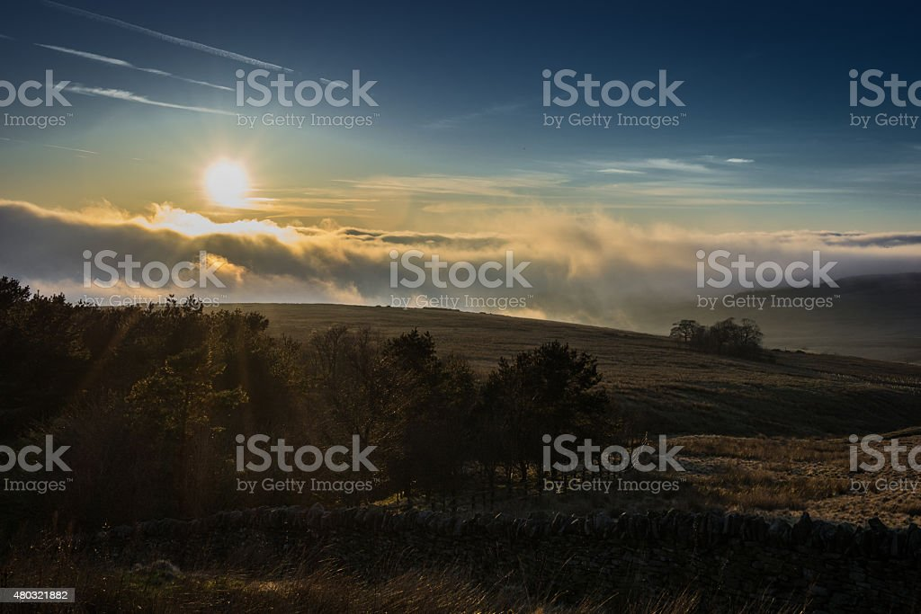 Cloud Inversion Coming Over Moorland. stock photo