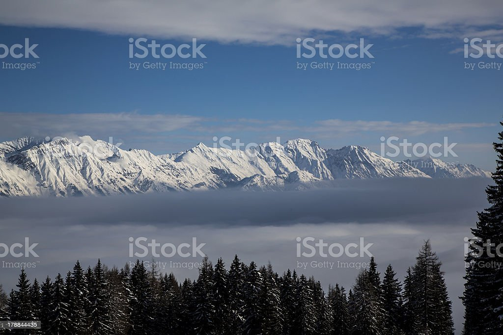 Cloud inversion in the mountains of Tirol, Austria royalty-free stock photo