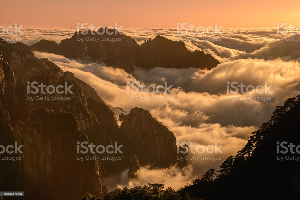 Cloud inversion sunset stock photo