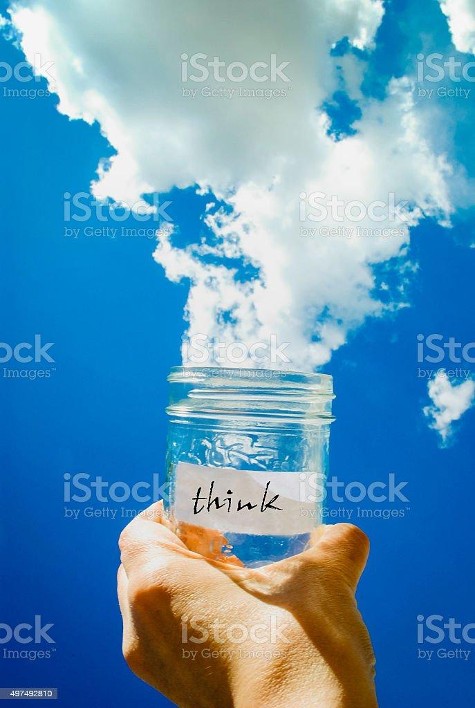 Cloud jar think stock photo