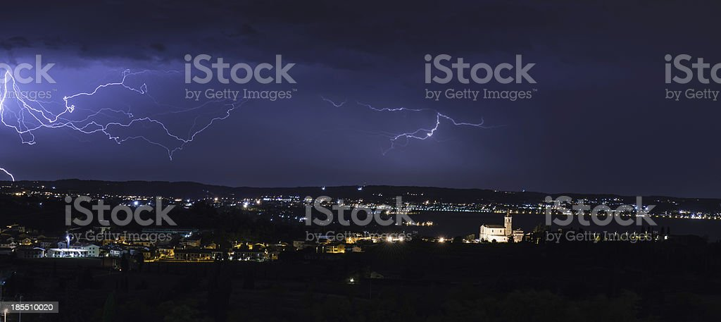 Cloud Lightning at garda lake royalty-free stock photo