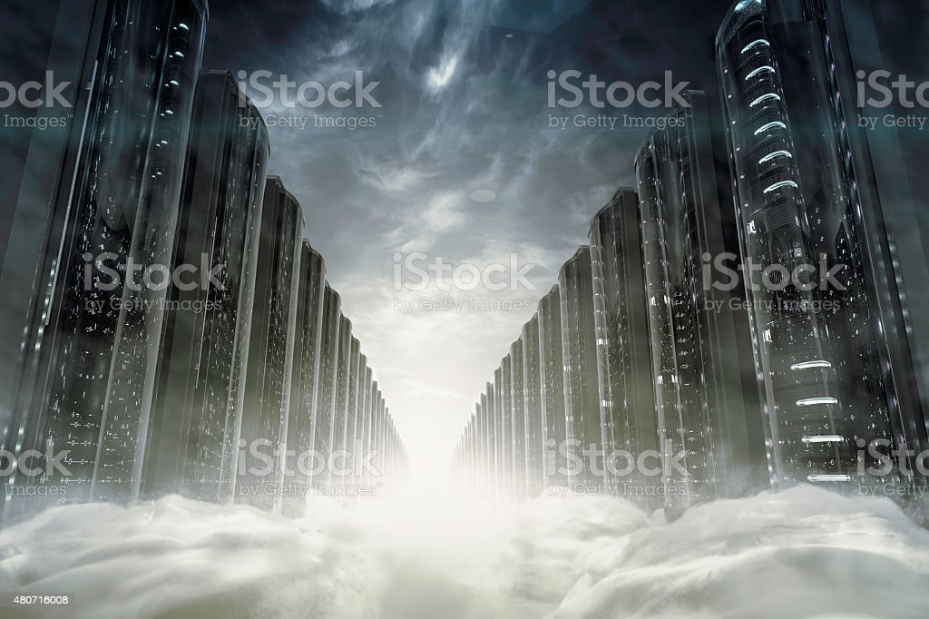 Cloud network servers stock photo