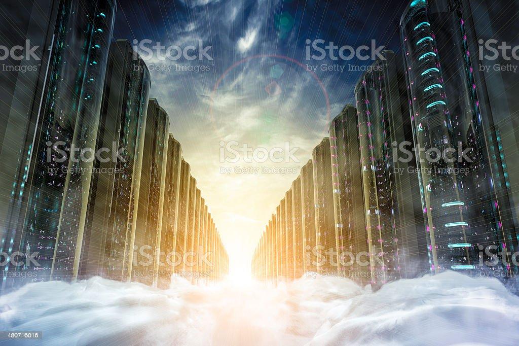 Cloud network servers stock photo