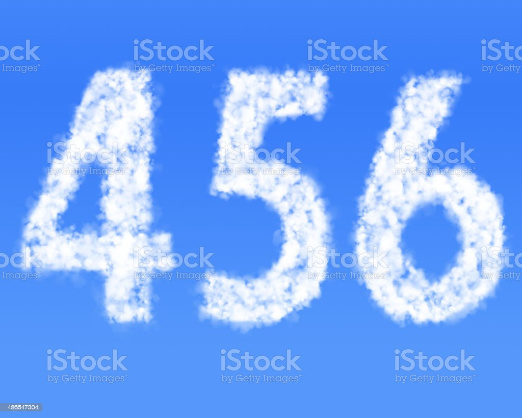 Cloud Numbers, clouds in shape of figure 4 5 6 stock photo