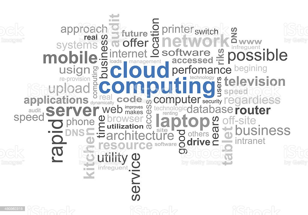 Cloud of commonly used words in computing stock photo