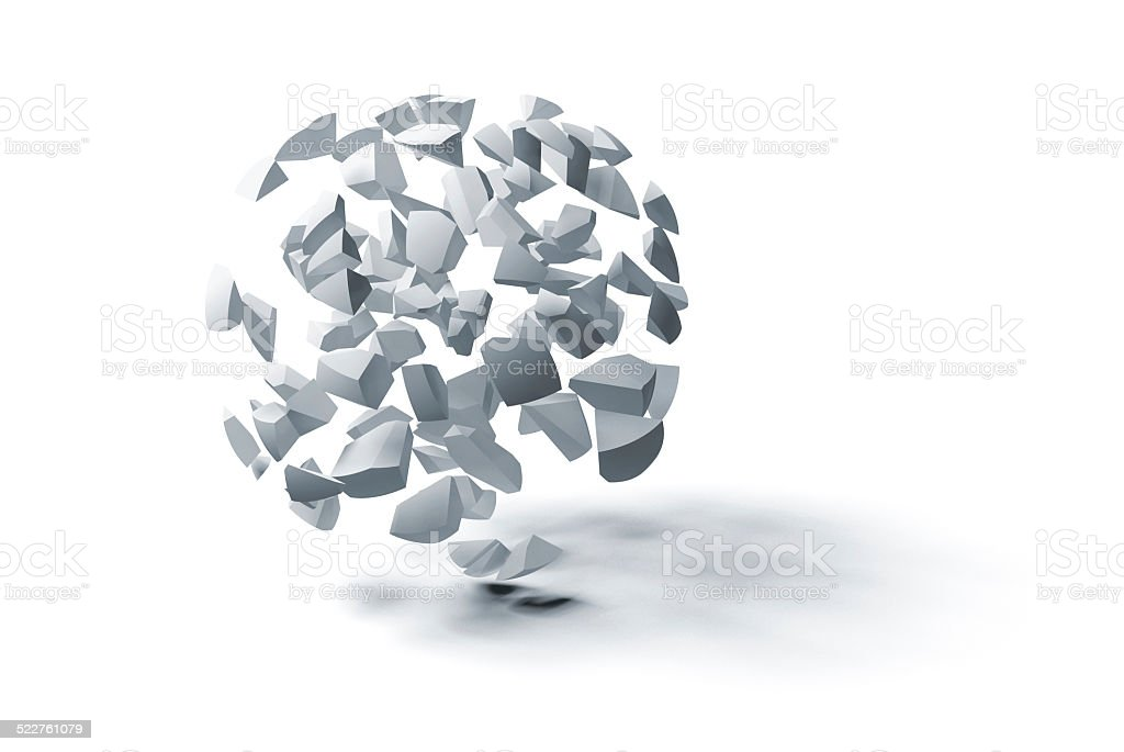 Cloud of small spherical fragments isolated on white stock photo