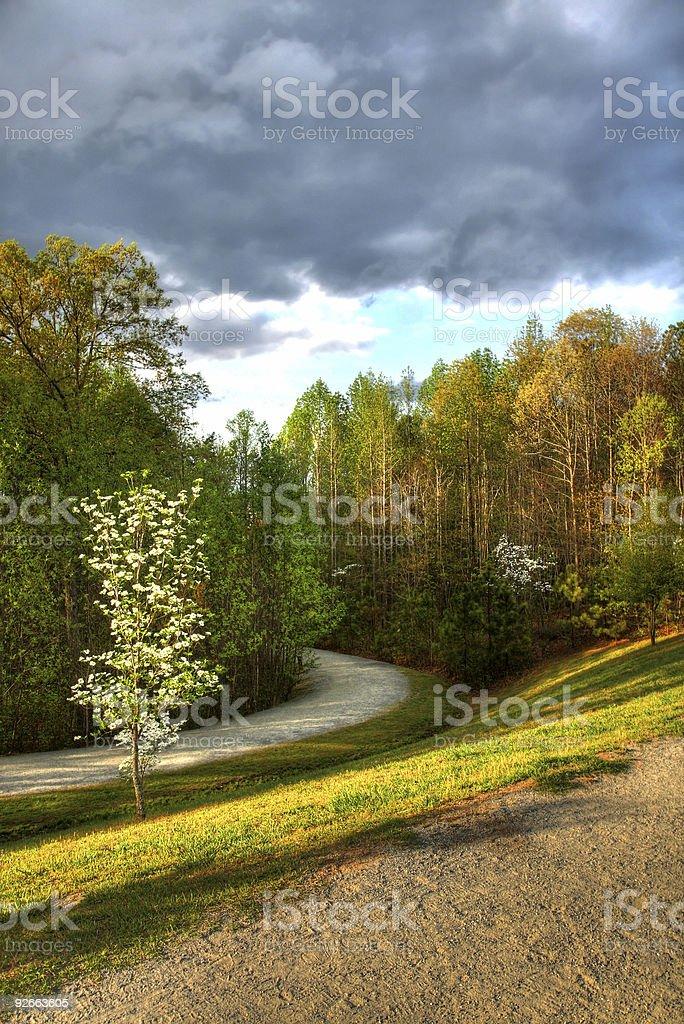 Nuage sur un chemin tranquille photo libre de droits