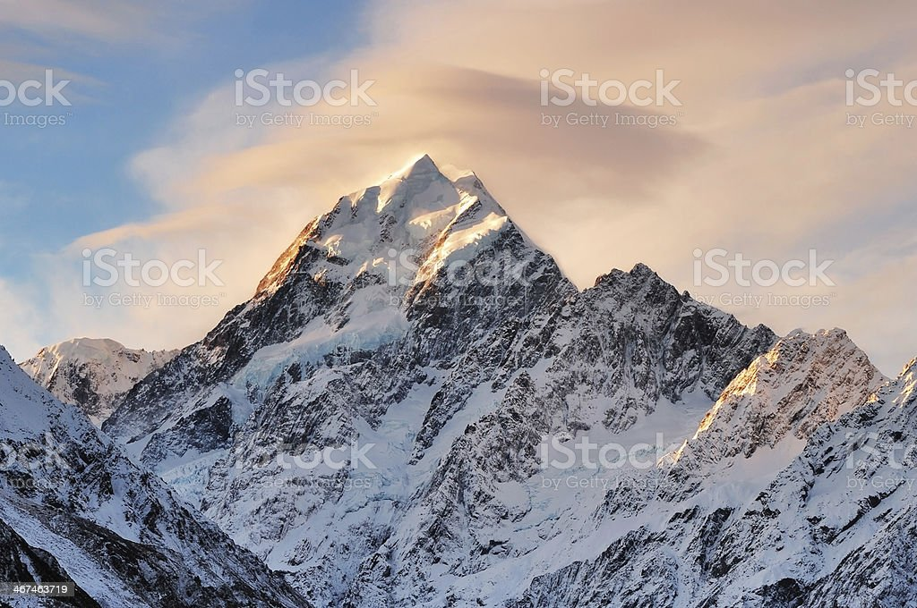 Cloud over Mount Cook, New Zealand stock photo