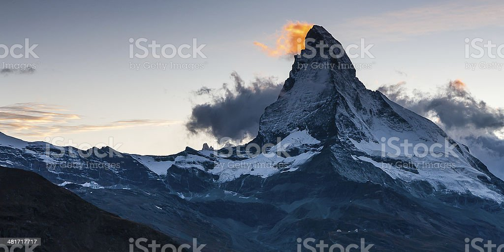 Cloud over the summit of  Matterhorn royalty-free stock photo