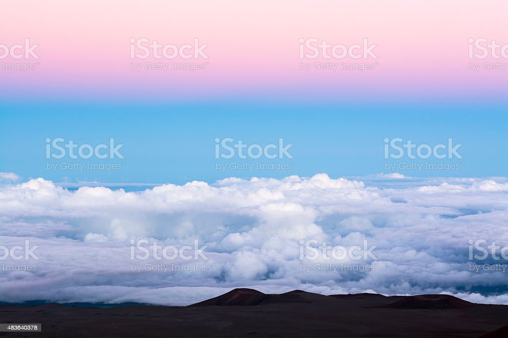 Cloud panorama on mountaintop stock photo