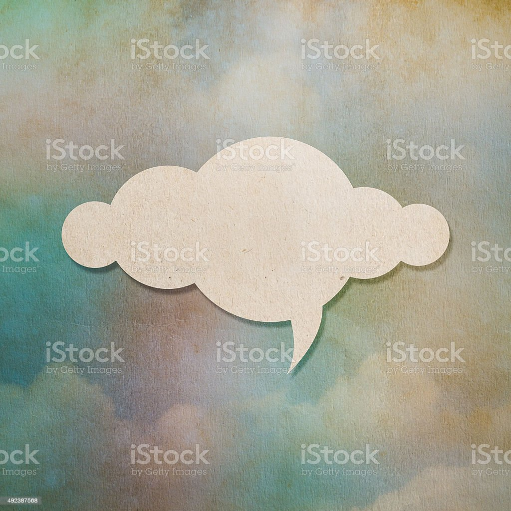 Cloud paper on colorful old paper background stock photo