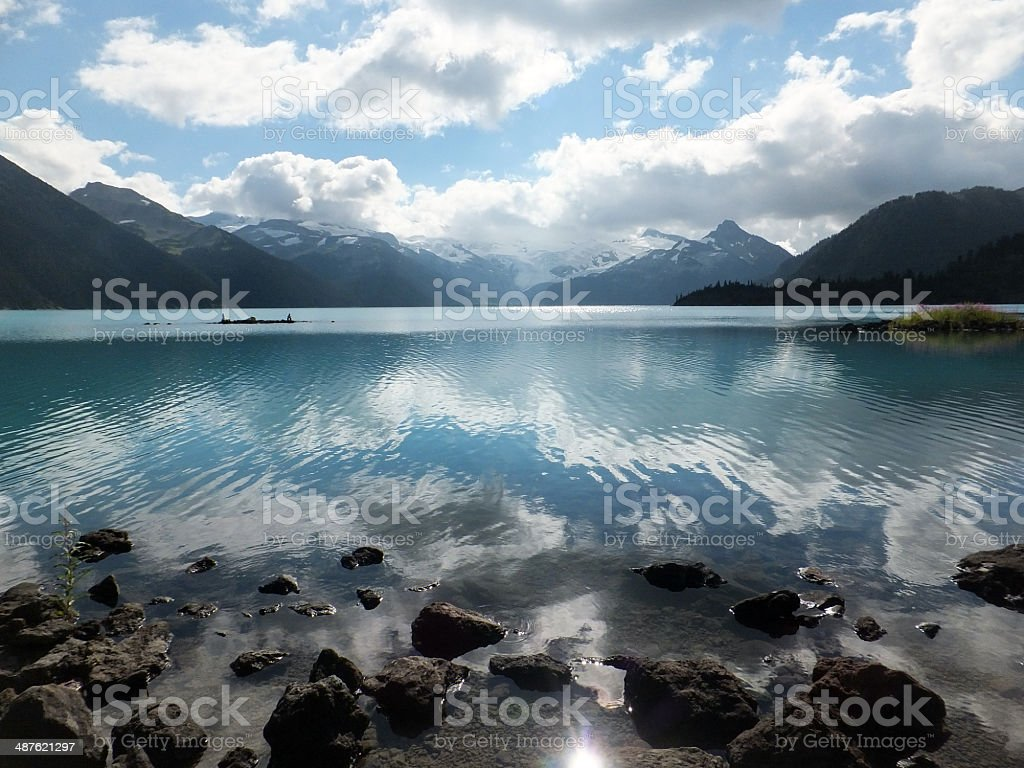 Cloud reflection on a lake stock photo
