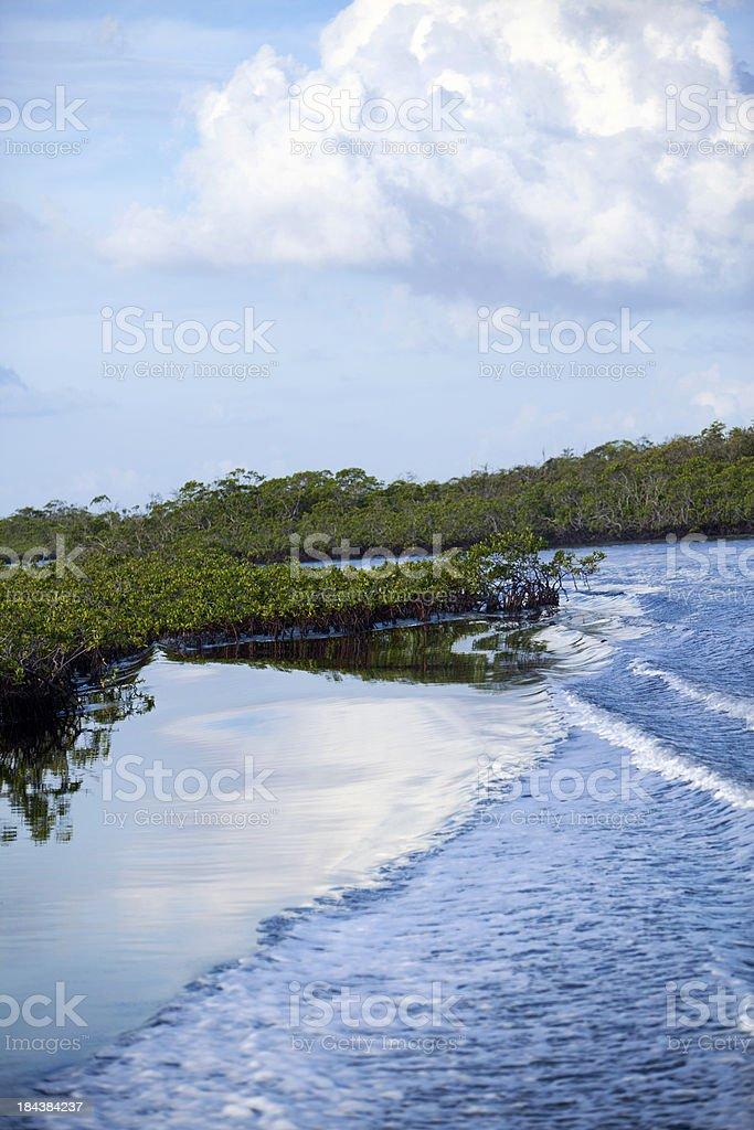 Cloud reflection waterway stock photo
