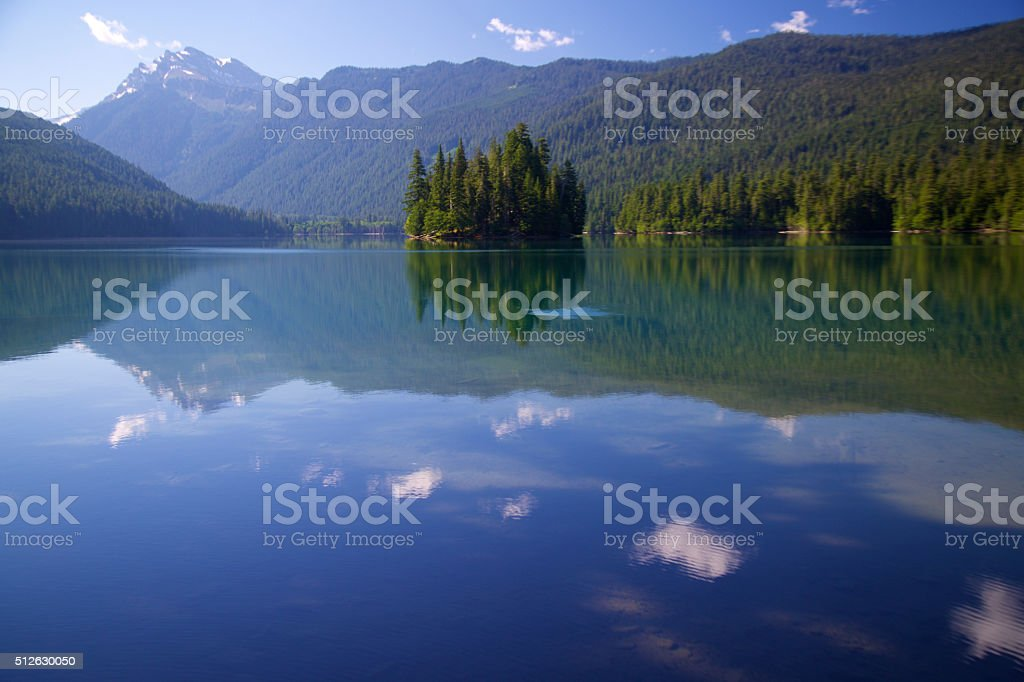 Cloud reflections in Packwood lake stock photo