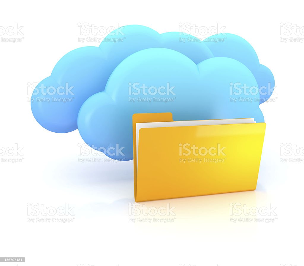 cloud server and folder royalty-free stock photo