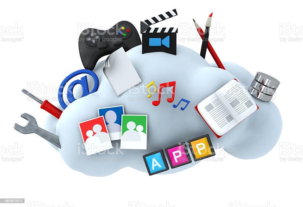 Cloud server hositng concept stock photo