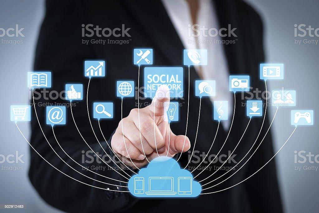 Cloud Server Social Network stock photo