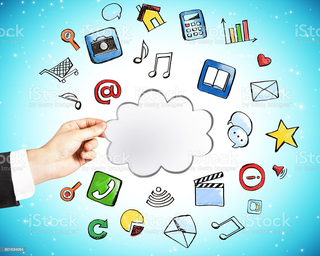Cloud service technology concept with man hand stock photo