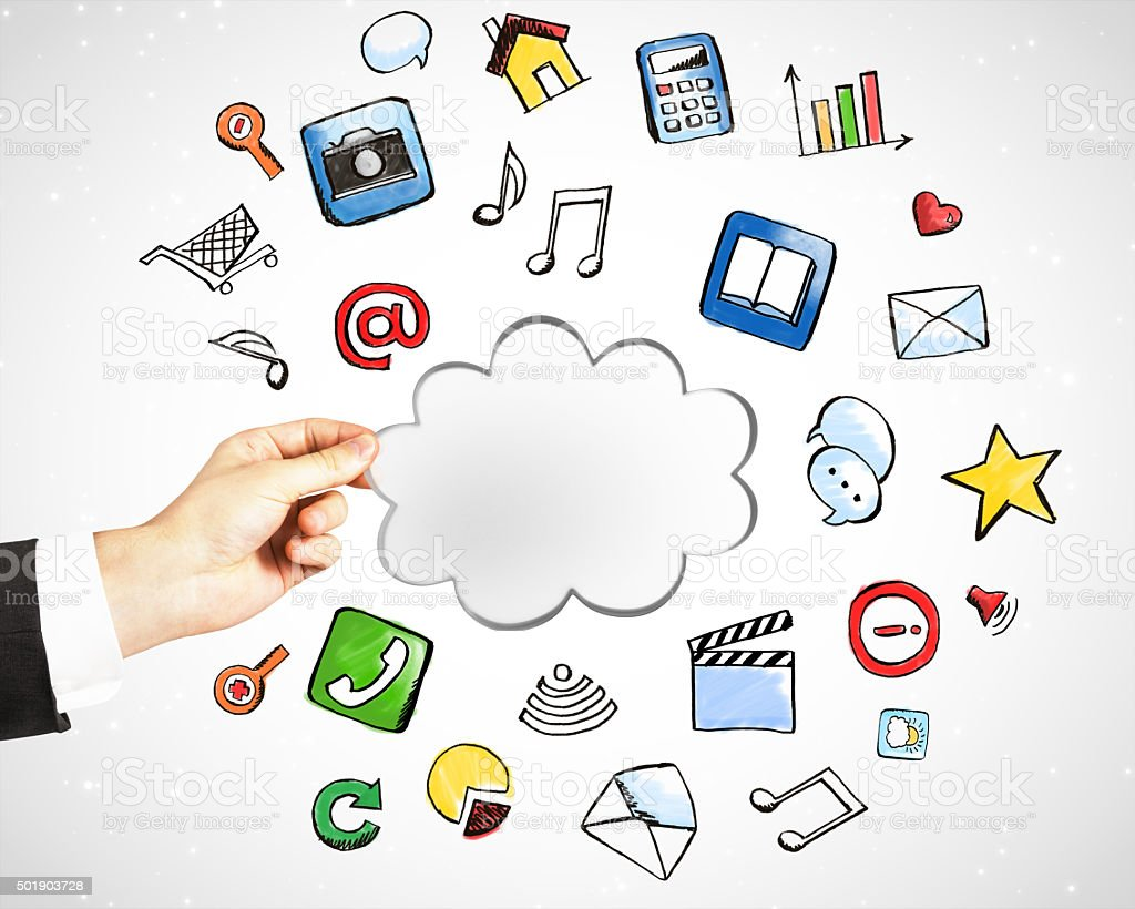 Cloud service technology with social media icons concept stock photo